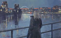 River Lights (study) by Kevin Day - Original Painting, Canvas on Board sized 16x10 inches. Available from Whitewall Galleries